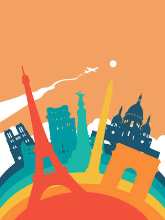 Travel France landscape illustration, French world landmarks. Includes Eiffel tower, Notre Dame church, triumph arch. EPS10 vector.