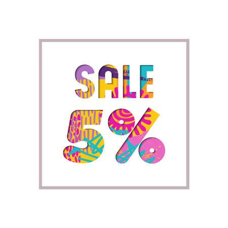 Sale 5% off modern text quote, typography design in paper cut style. Special offer discount advertising for retail business. EPS10 vector.