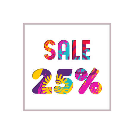 Sale 25% off modern text quote, typography design in paper cut style. Special offer discount advertising for retail business. EPS10 vector.