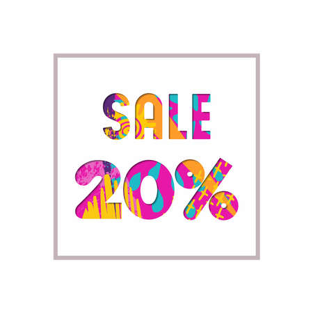 numbers: Sale 20% off modern text quote, typography design in paper cut style. Special offer discount advertising for retail business. EPS10 vector.