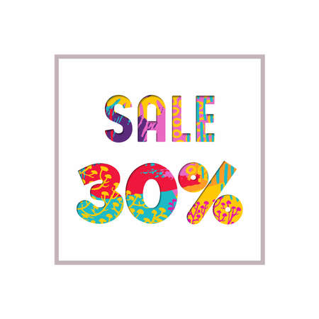 Sale 30% off modern text quote, typography design in paper cut style. Special offer discount advertising for retail business. EPS10 vector.