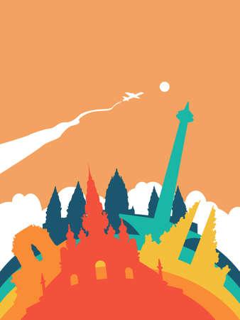 Ilustración del paisaje de Indonesia del recorrido, señales indonesias del mundo. Incluye monumento monas Jakarta, templos hindúes, edificios antiguos. EPS10 vector.