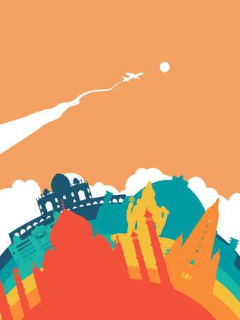 Travel India landscape illustration, Indian world landmarks. Includes Taj Mahal, Shiva statue, Buddhist temples. EPS10 vector. Illustration
