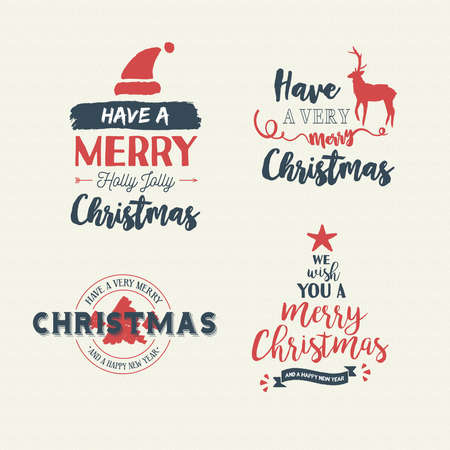 Merry Christmas vintage calligraphic quote collection, handwritten brush font lettering for holiday season greeting card. EPS10 vector. Stock Vector - 84484192