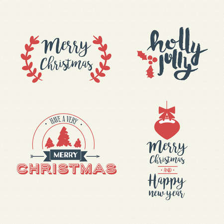 Merry Christmas vintage calligraphic quote collection, handwritten brush font lettering for holiday season greeting card. EPS10 vector. Stock Vector - 84484194