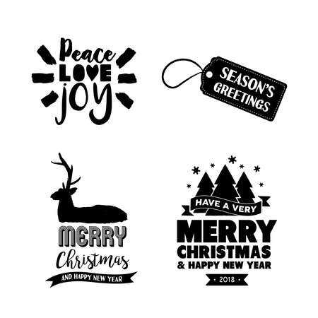Merry Christmas text quote set, calligraphy lettering design for holiday season. Creative handwritten typography font illustration. EPS10 vector. Illustration