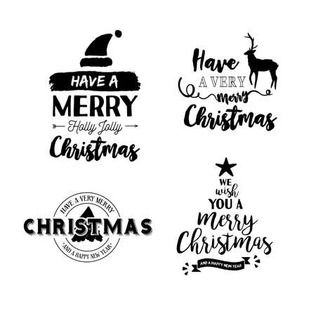 Creative Handwritten Typography Merry Christmas Text Quote Set, Calligraphy  Lettering Design For Holiday Season. Creative Handwritten Typography