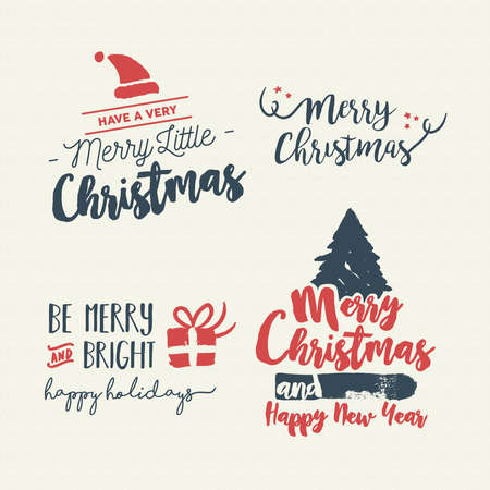 Merry Christmas vintage calligraphic quote collection, handwritten brush font lettering for holiday season greeting card. EPS10 vector. Illustration