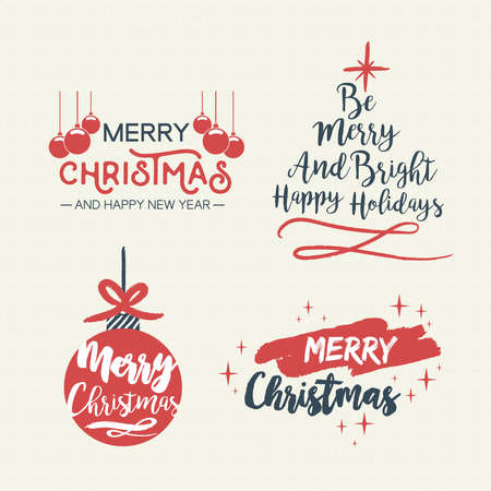 merry christmas vintage calligraphic quote collection handwritten brush font lettering for holiday season greeting card