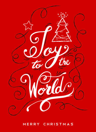 Joy to the world Christmas calligraphy quote, ornamental text design for holiday season. Creative vintage typography font illustration. EPS10 vector. Illustration