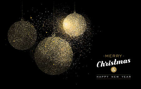 Merry Christmas and Happy New Year gold greeting card illustration. Holiday decoration ornaments made of golden glitter dust. EPS10 vector. Stock Illustratie