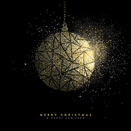 Merry Christmas and Happy New Year luxury greeting card design, gold bauble decoration made of golden glitter dust on black background. EPS10 vector.