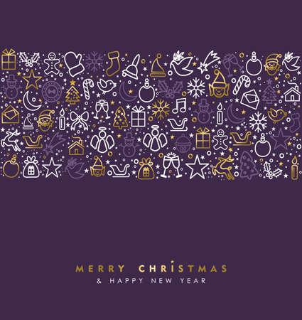 sign: Merry Christmas and Happy New Year greeting card with gold line art holiday icon pattern, outline style decoration background. EPS10 vector.