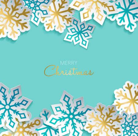 Carte de voeux Joyeux Noël avec papier doré découpé en flocon pour la saison des vacances d'hiver. Conception moderne d'autocollant d'ornement 3d. Vector EPS10. Banque d'images - 84166511