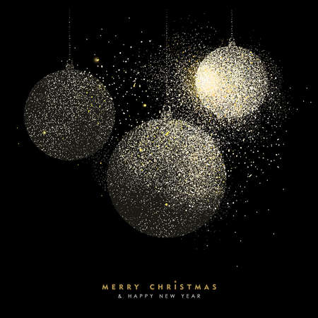 Merry Christmas and Happy New Year luxury greeting card design, gold bauble decoration made of golden glitter dust on black background. EPS10 vector. Illustration