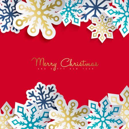 Joyeux noël et bonne carte de voeux de nouvel an avec la décoration de papier découpé pour la conception des vacances d & # 39 ; hiver. design graphique moderne . étiquette eps10 . vecteur eps10 Banque d'images - 83958208