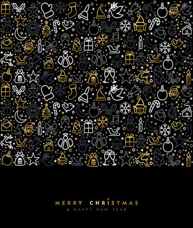 sign: Merry Christmas and happy New Year luxury greeting card design with gold holiday line art icon pattern. EPS10 vector.