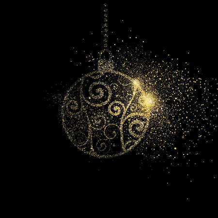 Merry Christmas gold glitter art illustration, golden holiday bauble decoration on black background. EPS10 vector.