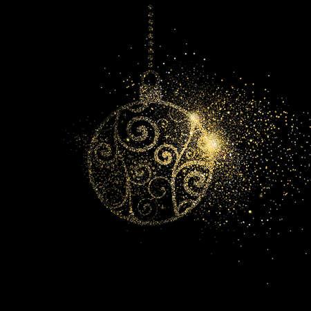 Merry Christmas gold glitter art illustration, golden holiday bauble decoration on black background. EPS10 vector.