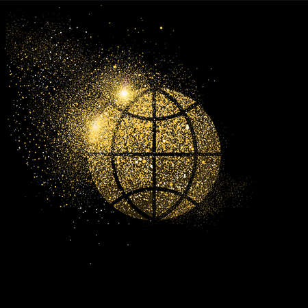 World network symbol concept illustration, gold communication icon made of realistic golden glitter dust on black background. EPS10 vector.