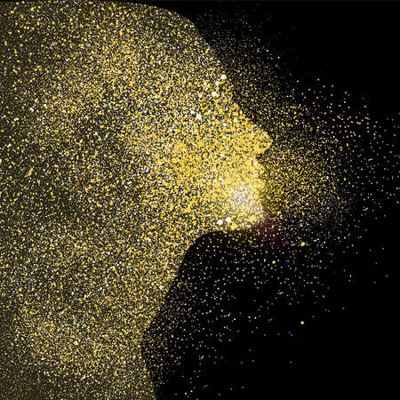 Woman silhouette symbol concept illustration, gold girl profile icon made of realistic golden glitter dust on black background. EPS10 vector.