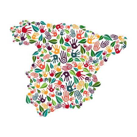 Spanish country shape with green leaves and human hand prints. Spain world help concept illustration for charity work, nature care or social project. EPS10 vector. Ilustração