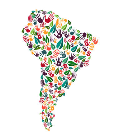 South american continent shape with green leaves and human hand prints. Latin america world help concept illustration for charity work, nature care or social project. EPS10 vector.