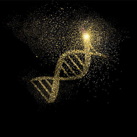 DNA strand symbol concept illustration, gold medical science icon made of realistic golden glitter dust on black background. EPS10 vector.