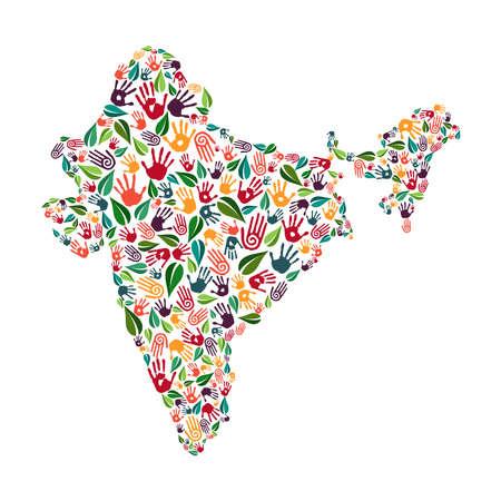 Indiase landvorm met groene bladeren en menselijke handafdrukken. India wereld help concept illustratie voor liefdadigheidswerk, natuurzorg of sociaal project. EPS10 vector. Stock Illustratie