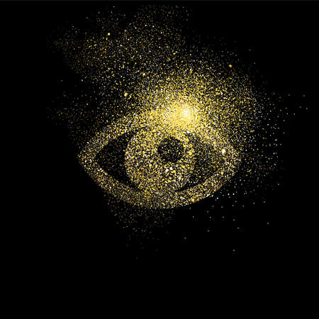 Eye symbol concept illustration, gold view icon made of realistic golden glitter dust on black background. EPS10 vector. 矢量图像