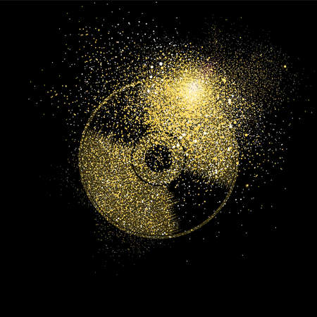 Vinyl cd symbol concept illustration, gold music icon made of realistic golden glitter dust on black background. EPS10 vector.