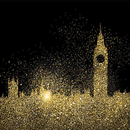 London city landscape silhouette, gold cityscape design made of realistic golden glitter dust on black background. EPS10 vector.