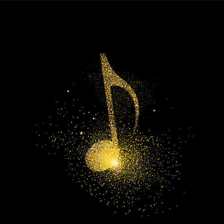 Music note symbol concept illustration, gold musical icon made of realistic golden glitter dust on black background. EPS10 vector.