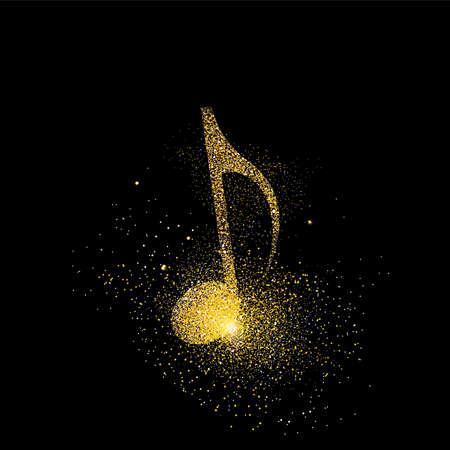 Ilustración de concepto de símbolo de nota musical, icono musical de oro hecho de polvo de brillo dorado realista sobre fondo negro. Vector EPS10