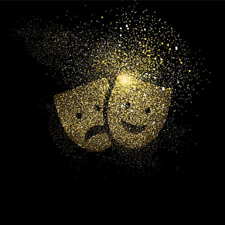 Theater mask symbol concept illustration, gold entertainment icon made of realistic golden glitter dust on black background. EPS10 vector.