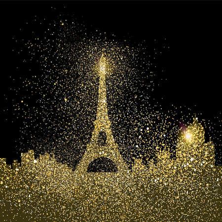 파리 도시 풍경 실루엣, 골드 악센트하지만 검정색 배경에 현실적인 황금 반짝이 먼지의 디자인했다. EPS10 벡터입니다. 일러스트