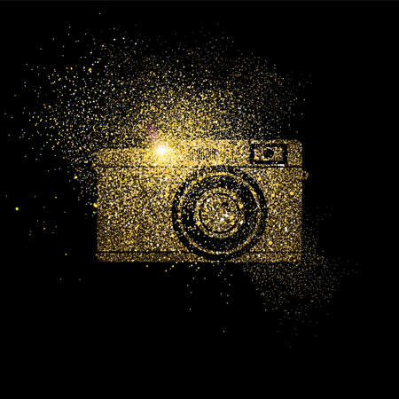 Vintage camera symbol concept illustration, gold photography icon made of realistic golden glitter dust on black background. EPS10 vector.