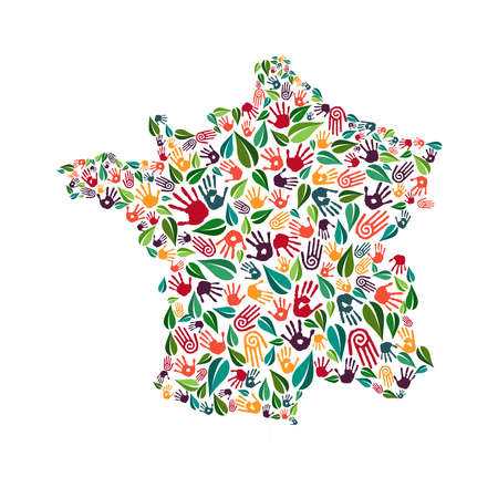 French country shape with green leaves and human hand prints. France world help concept illustration for charity work, nature care or social project. EPS10 vector.