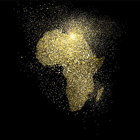 African continent concept illustration, gold africa icon made of realistic golden glitter dust on black background. EPS10 vector.