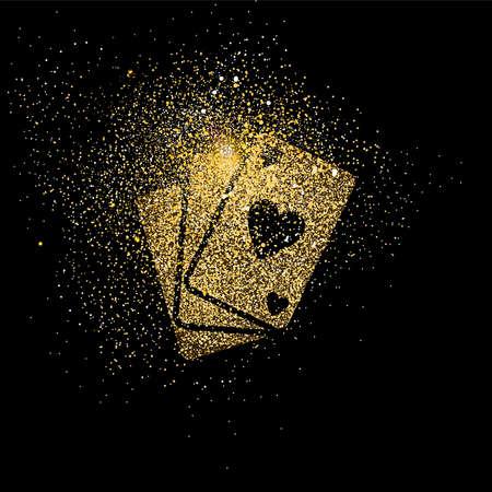 Ilustración del concepto del símbolo de las tarjetas del póker, icono de la cubierta del naipe del oro hecho del polvo realista del brillo de oro en fondo negro. Vector EPS10. Foto de archivo - 84523266