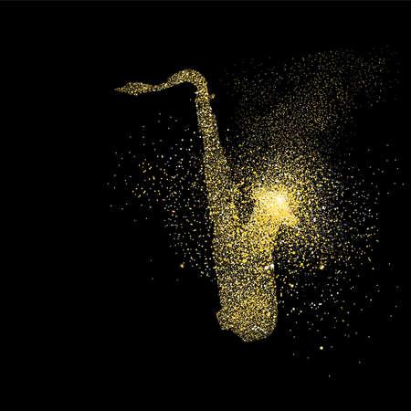 색소폰 기호 개념 그림, 골드 색소폰 음악 아이콘 검정색 배경에 현실적인 황금 반짝이 먼지의했다. EPS10 벡터입니다.