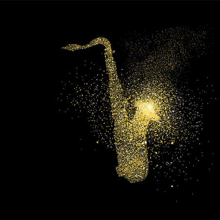 Sax symbol concept illustration, gold saxophone music icon made of realistic golden glitter dust on black background. EPS10 vector.