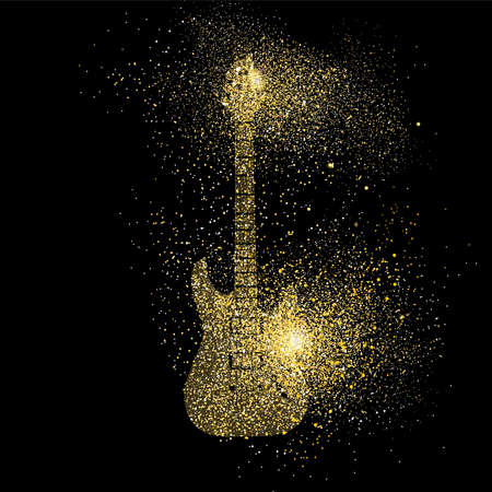 Electric guitar symbol concept illustration, gold music instrument icon made of realistic golden glitter dust on black background. EPS10 vector. Vettoriali