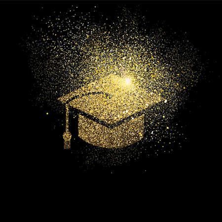 Ilustración del concepto de símbolo del casquillo de la graduación, icono del estudiante universitario del oro hecho de polvo de brillo realista del oro en fondo negro. EPS10 vector.