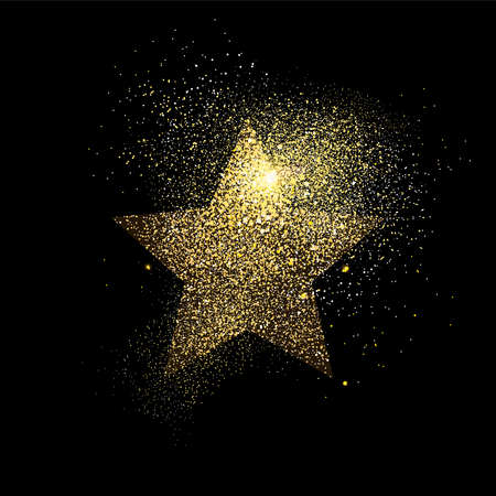 Star symbol concept illustration, gold icon made of realistic golden glitter dust on black background. EPS10 vector. Vettoriali