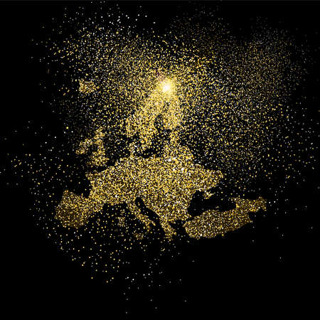 European continent concept illustration, gold Europe shape made of realistic golden glitter dust on black background. EPS10 vector.