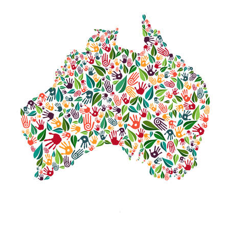 Australian country shape with green leaves and human hand prints. Australia world help concept illustration for charity work, nature care or social project. EPS10 vector.