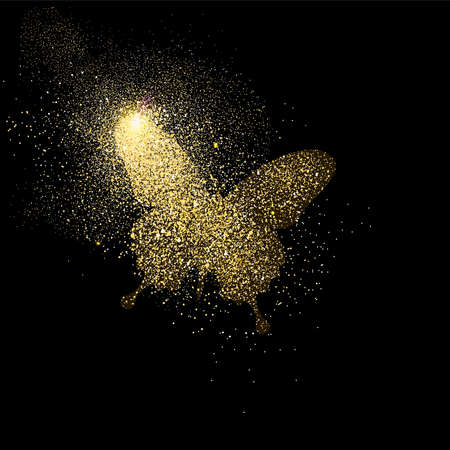 Butterfly symbol concept illustration, gold insect icon made of realistic golden glitter dust on black background. EPS10 vector.
