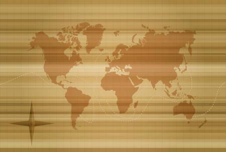 Silueta del ejemplo del mapa del mundo del concepto en fondo de la textura del estilo del vintage. Vector EPS10. Foto de archivo - 86491991