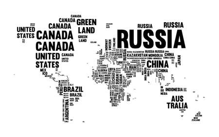 Typography world map made of every country name in black and white. Concept text atlas design with continent shapes. EPS10 vector.